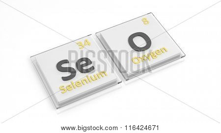 Periodic table of elements symbols used to form word SEO, isolated on white.
