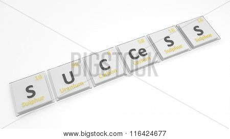 Periodic table of elements symbols used to form word Success, isolated on white.
