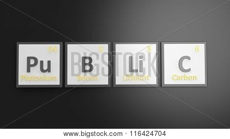 Periodic table of elements symbols used to form word Public, isolated on black