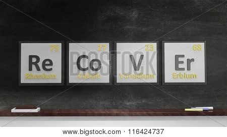 Periodic table of elements symbols used to form word Recover, on blackboard