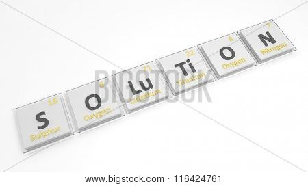 Periodic table of elements symbols used to form word Solution, isolated on white.