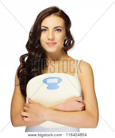 Young healthy girl with scales isolated
