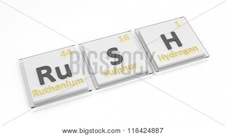 Periodic table of elements symbols used to form word Rush, isolated on white.