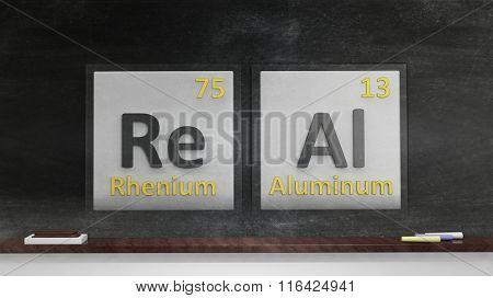 Periodic table of elements symbols used to form word Real, on blackboard