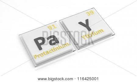 Periodic table of elements symbols used to form word Pay, isolated on white.