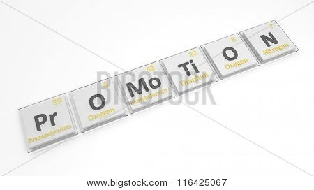 Periodic table of elements symbols used to form word Promotion, isolated on white.