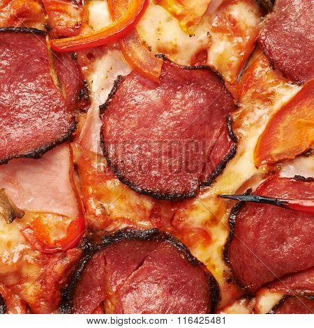 Close-up pepperoni pizza fragment