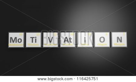 Periodic table of elements symbols used to form word Motivation, isolated on black