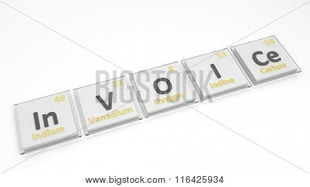 Periodic table of elements symbols used to form word Invoice, isolated on white.