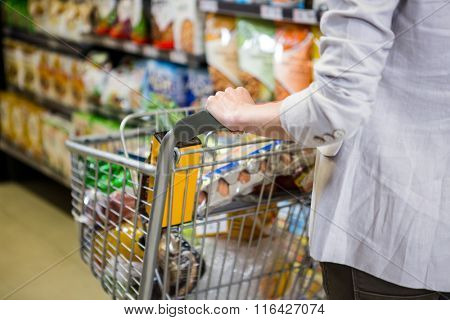 Cropped image of woman pushing trolley in supermarket