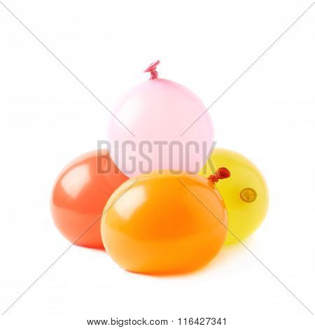 Pile of water filled balloons isolated