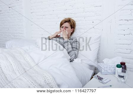 Woman With Sneezing Nose Blowing In Tissue On Bed Suffering Cold Flu Virus Symptoms Having Medicines