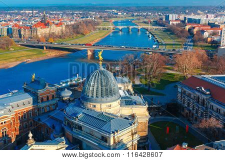 Aerial view of Elbe and roofs Dresden, Germany