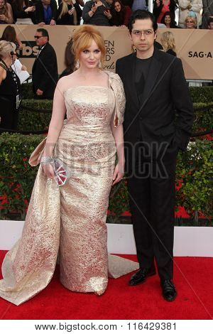 LOS ANGELES - JAN 30:  Christiina Hendricks, Geoffrey Arend at the 22nd Screen Actors Guild Awards at the Shrine Auditorium on January 30, 2016 in Los Angeles, CA