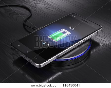 Abstract Wireless charging of abstract smartphone - 3d render