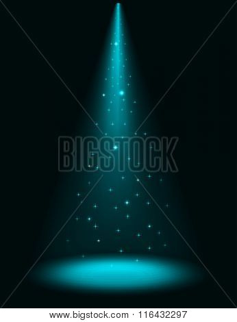 Abstract stage sparkling spotlight background.