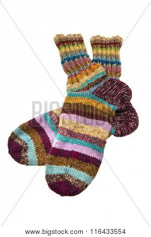 Socks knitted in stripes.