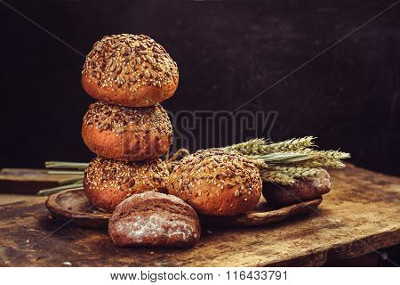 Fresh homemade burger buns.