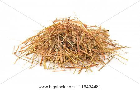 Heap of straw isolated on white