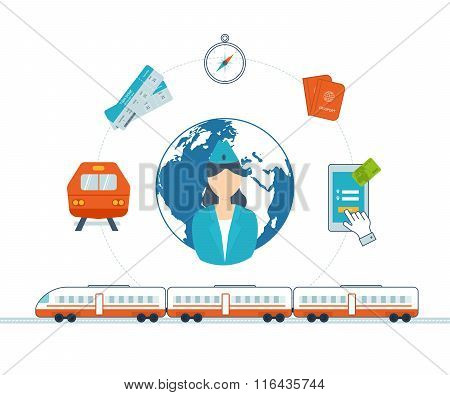 Train on railway. Online ticket reservation.  Hotel booking.