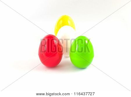 Fancy Or Colorful Of Egg In White Background. Soft Focus