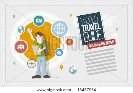 Travel guide design template. Vector illustration and poster design template. Elements are layered separately in vector file.