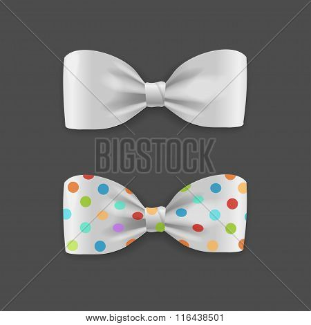 White Bow Tie Set. Vector