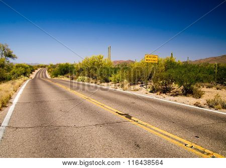 Flood Warning Sign In Sonora Desert