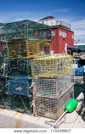Lobster Traps On A Dock