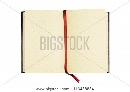 Old Blank Open Book With Red Ribbon Bookmark Isolated On White Background.
