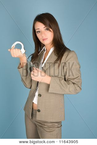 Woman Holding A Handcuffs