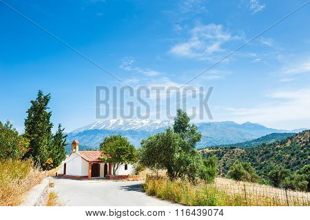 Chapel In The Mountains On The Crete Island, Greece.