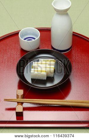 karasumi daikon, bottarga radish, appetizer for japanese rice wine