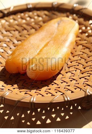 drying mullet roe by sunlight, homemade karasumi, japanese food