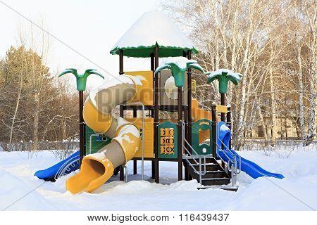 Children's sports gaming complex in winter.