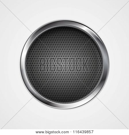 Abstract metal perforated circle background. Vector graphic design illustration