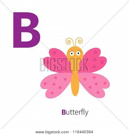 Letter B Butterfly Insect Zoo Alphabet. English Abc With Animals Education Cards For Kids Isolated W
