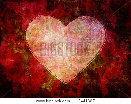 Heart Shape on Dark Grunge Flower Paper Background