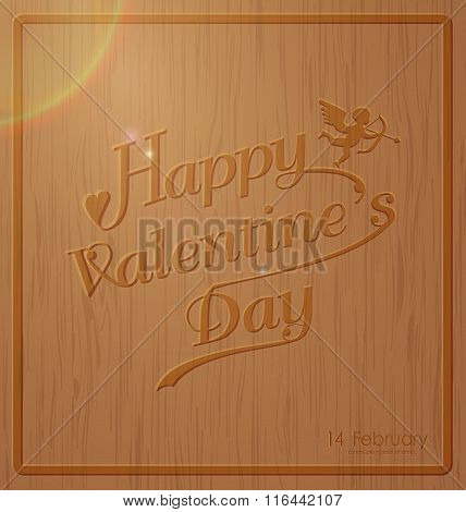 Happy valentine day typography on carved wooden background texture design in vintage style