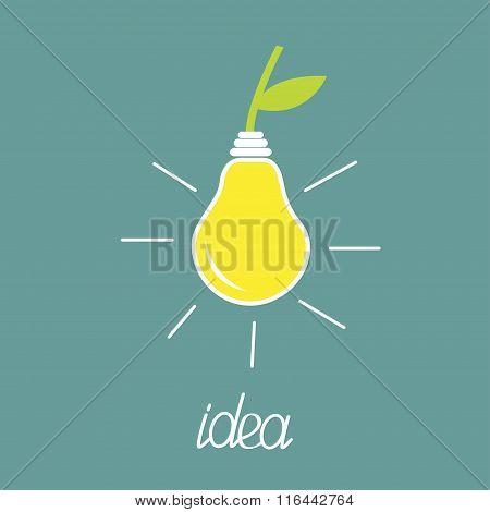 Pear Lamp Bulb With Green Leaf.  Eco Energy Idea Concept.