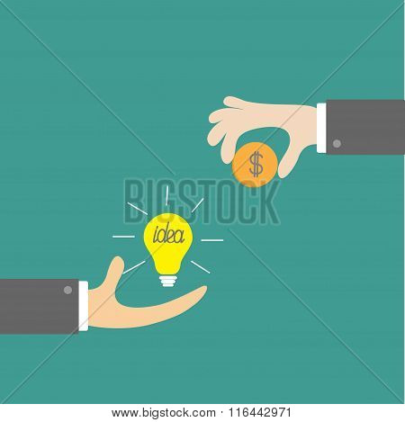 Hands With Idea Bulb And Money Coin. Exchanging Concept. Flat De