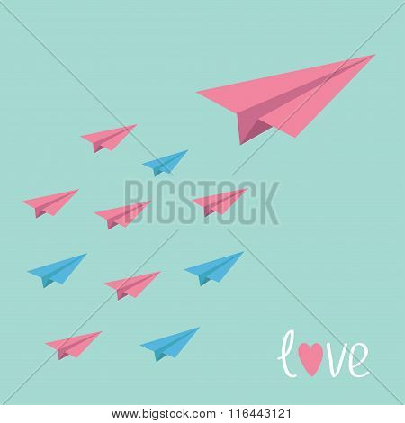 Big Pink Paper Plane With Small Planes. Love Card.
