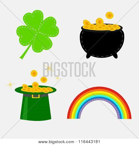 Clover Leaf, Pot With Money, Green Hat And Rainbow. St. Patrick