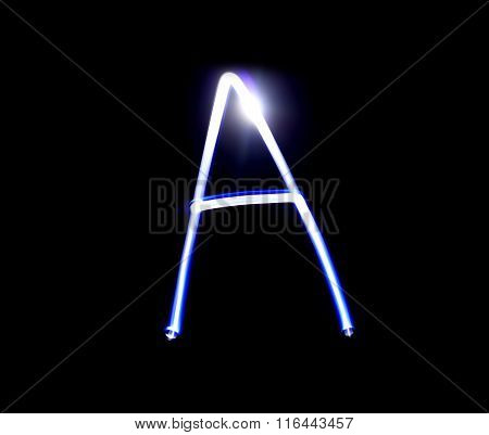 A Able Alphabet Hand Writing Blue Light  Over Black Background.