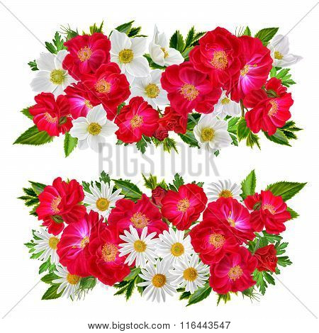 Set. Two Floral Arrangements. Red Roses, White Anemones, Chamomile. Isolated. On A White Background.