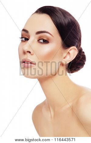 Portrait of young beautiful healthy woman over white background