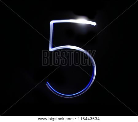 Five Blue Light Digit Hand Writing Over Black Background.