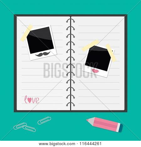 Notebook With Spiral,  Blank Lined Paper, Pencil, Paperclips And