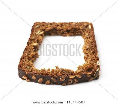 Black bread slice isolated