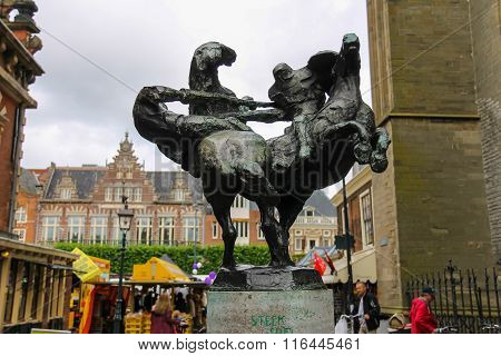 Modern Statue Of Two Jousting Knights On Horses On The Grote Markt In In The Historic Center Of Haar
